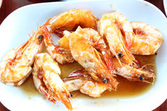 Thai food. Thai domestic seafood (fried shrimp, tamarind Stock Image