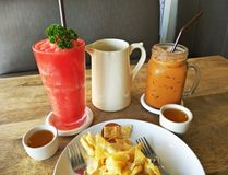 Thai food and drinks in the restaurant royalty free stock photography
