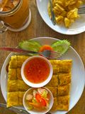 Thai food and drinks in the restaurant stock photos