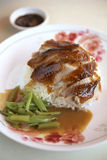 Thai food from duck. Roast duck and meat gravy on steam rice Royalty Free Stock Images
