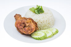 Thai food fast food, Fried Chicken with Rice Royalty Free Stock Photo
