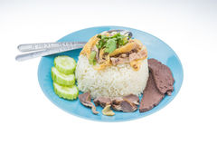 Thai food fast food, Steam Chicken with Rice Royalty Free Stock Image
