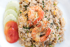Thai food fire rice with shrimp and eggs stock photos