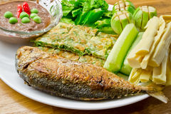 Thai food fish. A Thai dish with fish, vegetables and chili Stock Photos