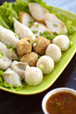 Thai food from fish. A fishball and a chilli sauce Royalty Free Stock Photos