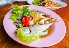 Thai Food,Fish steamed sweet sauce Royalty Free Stock Photos