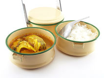 Thai food (steamed rice and yellow curry with fish and bamboo shoots) in metal food carrier isolated on white background Royalty Free Stock Photography