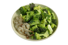 Thai  food fresh broccoli with shrimp Royalty Free Stock Photo
