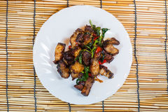 Thai food fried basil with crispy pork. Stock Image