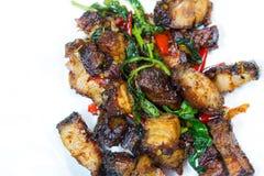 Thai food fried basil with crispy pork. Royalty Free Stock Image