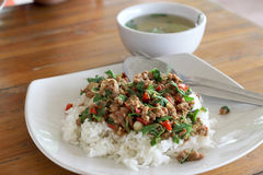 Thai food. Fried basil leave with pork Stock Photos