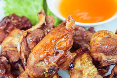 Thai food Fried chicken with chilli sauce Royalty Free Stock Images