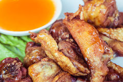 Thai food Fried chicken with chilli sauce Royalty Free Stock Photo