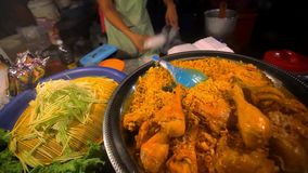 Thai food  fried chicken with rice sale in stock video footage