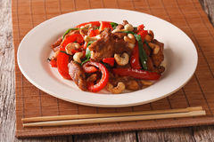 Thai Food: Fried chicken with vegetables and cashew nuts closeup Stock Photos