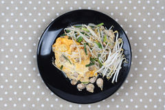 Thai food,Fried egg and oyster with bean sprouts and shallot as Stock Photo