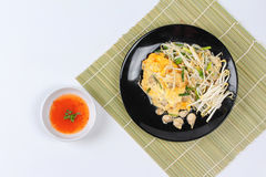 Thai food,Fried egg and oyster with bean sprouts and shallot as. Fried oyster with bean sprouts and shallot as `Hoi Tod` in Thai served with chili sauce is Royalty Free Stock Photos