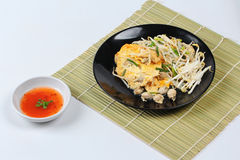Thai food,Fried egg and oyster with bean sprouts and shallot as Royalty Free Stock Photography