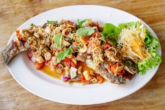 Thai Food,Snakehead fish on a white plate. Thai Food,fried fish with herb and spicy sauce.Snakehead fish on a white plate and on a wooden table royalty free stock photography