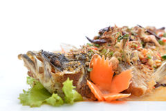 Thai food fried fish with spicy sauce isolated in white backgrou Stock Image