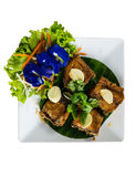 Thai food, fried fish and vegetables Stock Image