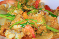 Thai food, fried mussel pancake in hot pan or Oysters on the hot Royalty Free Stock Images