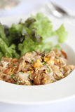 Thai food fried noodle with egg and pork Stock Image