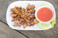 Thai food fried pork Stock Photo
