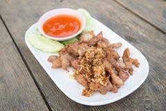Thai food fried pork. And garlic Royalty Free Stock Photo