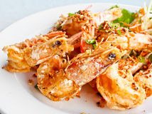 Thai food, fried prawns with garlic 1 Stock Images