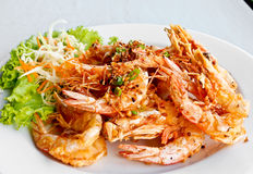 Thai food, fried prawns with garlic 2 Stock Image