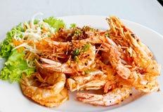 Thai food, fried prawns with garlic 2 Stock Image