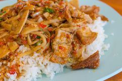 Thai Food, Fried rice with basil pork Stock Photo