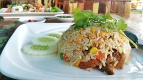 Thai Food: Fried Rice with Chinese sausage. On white plate Stock Photography