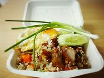 Thai Food fried rice. Rice crispy pork delicious of Thailand Royalty Free Stock Photography