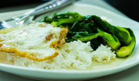 Thai food, fried rice with egg and vegetable. Stock Photography