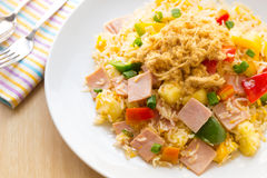 Thai food fried rice with ham, and pineapple. Royalty Free Stock Images