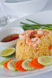 Thai food fried rice with shrimp. Thai modern food, fried rice with shrimp served with Chili fish sauce Royalty Free Stock Image