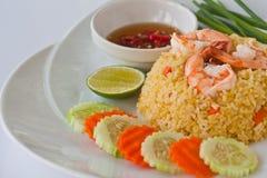 Thai food fried rice with shrimp. Thai modern food, fried rice with shrimp served with Chili fish sauce Stock Photo