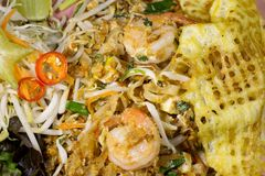 Thai food Fried Rice Sticks with Shrimp Royalty Free Stock Images