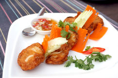 Thai food fries curry fish ball Royalty Free Stock Photography