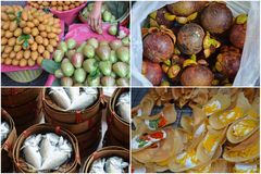 Thai food, fruits and fishes. Various kinds of thai food and fruit on a market royalty free stock image