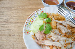 Thai food gourmet fried chicken with rice, khao man kai tod cris Stock Image