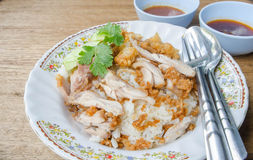 Thai food gourmet fried chicken with rice, khao man kai tod cris Stock Photography