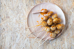 Thai Food, grilled meat ball and spicy sauce. Stock Photo