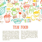 Thai food hand drawn banner template with lettering. Vector illustration Royalty Free Stock Images