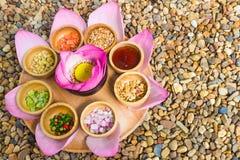 Thai food healthy thai food. Mixture of ingredients, lotus Thai food for health Royalty Free Stock Photo