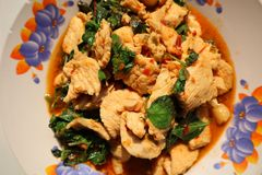 Thai food with herbs, red curry, chicken breast, basil leaves. Thai food herbs red curry chicken breast basil leaves stock photo