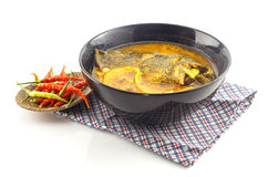 Thai food - hot and sour soup with fish and  preserved bamboo sh Stock Images