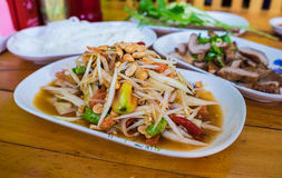 Thai food hot and spicy papaya salad Royalty Free Stock Image